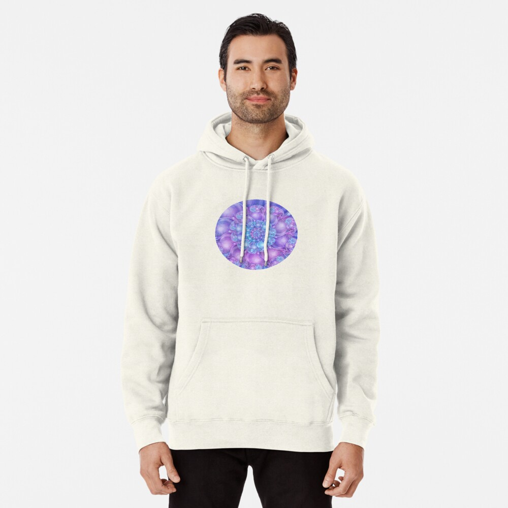 Cerulean Blue and Violet Purple Spiral Pullover Hoodie