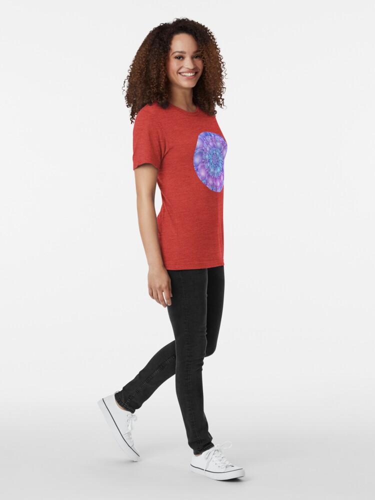 Alternate view of Cerulean Blue and Violet Purple Spiral Tri-blend T-Shirt
