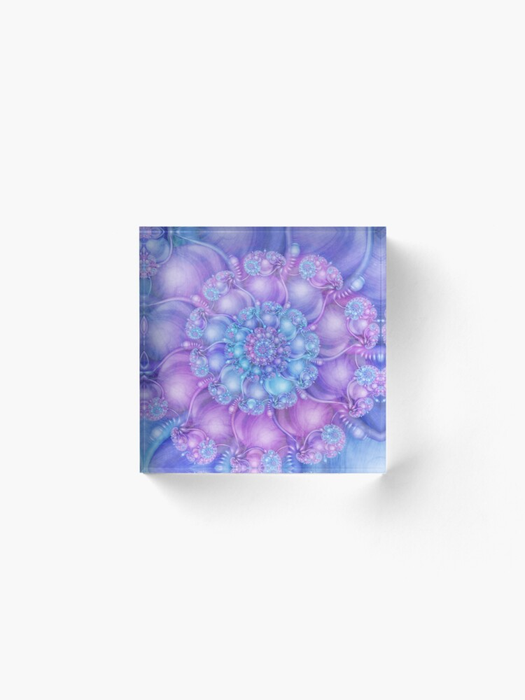 Alternate view of Cerulean Blue and Violet Purple Spiral Acrylic Block