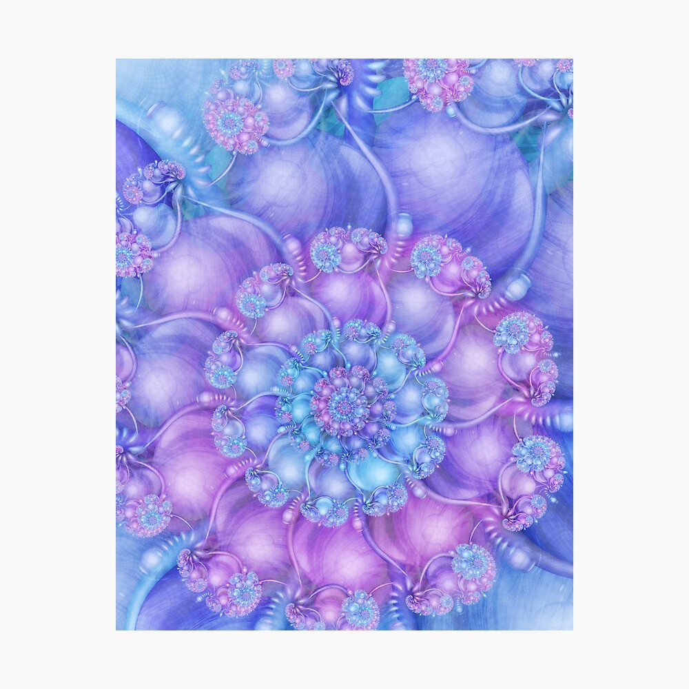 Cerulean Blue and Violet Purple Spiral Photographic Print