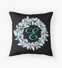 Letter E - butterfly, orchid, Alphabet, Monogram, Initial  Throw Pillow