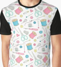 Sewing Notions pattern - cotton reels, scissors, buttons and pins Graphic T-Shirt