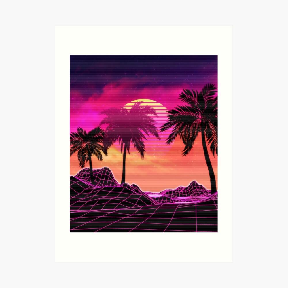 Pink vaporwave landscape with rocks and palms Art Print