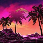 Pink vaporwave landscape with rocks and palms by AnnArtshock