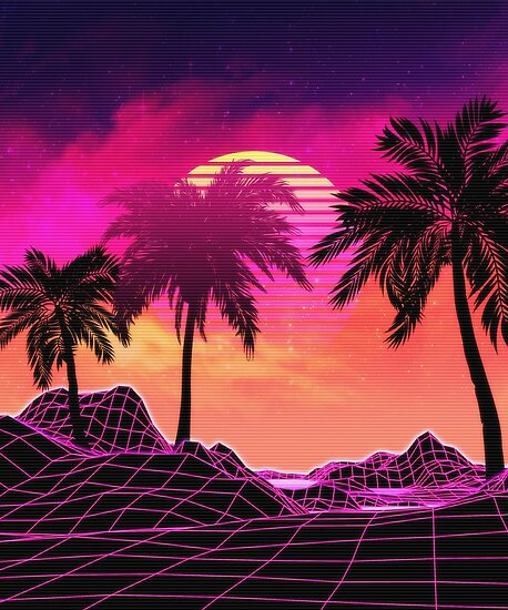 """""""Pink vaporwave landscape with rocks and palms"""" Poster by AnnArtshock   Redbubble"""