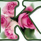 Letter K Rose Monogram by gretzky