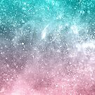 Sea pink viridian green ombre abstract galaxy by PLdesign