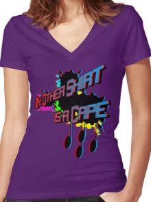 Alter Ego: Anaglyphic Splash! Women's Fitted V-Neck T-Shirt