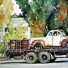 Dumbleyung Hotel with Old Car and Drums by scallyart