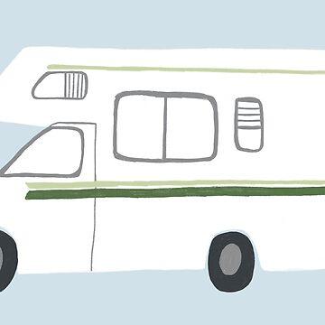 Retro RV Motorhome Camper - green and blue by shoshannahscrib