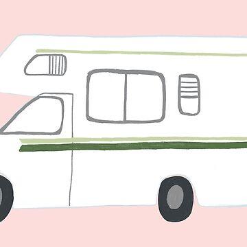 Retro RV Motorhome Camper - green and pink by shoshannahscrib