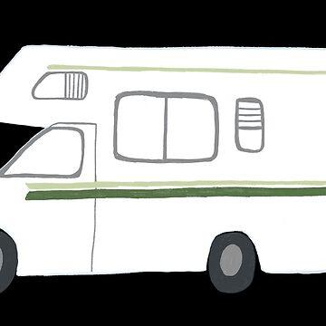 Retro RV Motorhome Camper - black background by shoshannahscrib