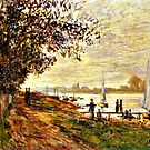 Monet - The Riverbank at Le Petit-Genneviliers, Sunset by virginia50