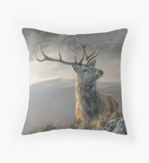"Red Deer Stag ""Royal"" Monarch of the Glen Throw Pillow"