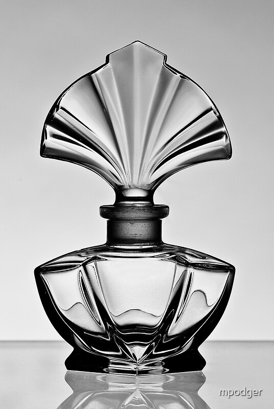 """Flat Water Bottle >> """"Perfume bottle in black and white - Print"""" by mpodger 