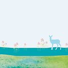 Deer in green landscape. The perfect nursery gift for a newborn, boy or girl by ColorsHappiness