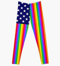 Gay USA Rainbow Flag - American LGBT Stars and Stripes Leggings