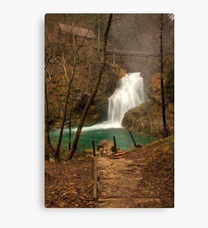 Cascade in the woods Canvas Print