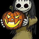 Creepy Girl with Pumpkin by Wislander