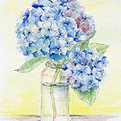 Blaue Hortensie, Stillleben von JRoseDesign