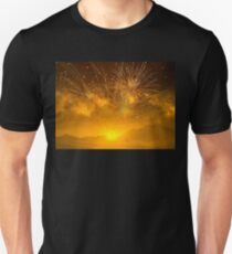 Golden Fireworks Above The Mountains At Sunset Unisex T-Shirt