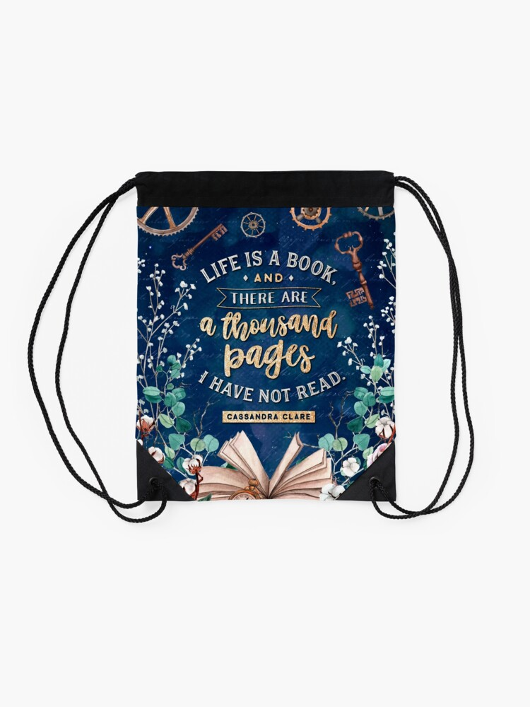 Alternate view of Life is a book Drawstring Bag