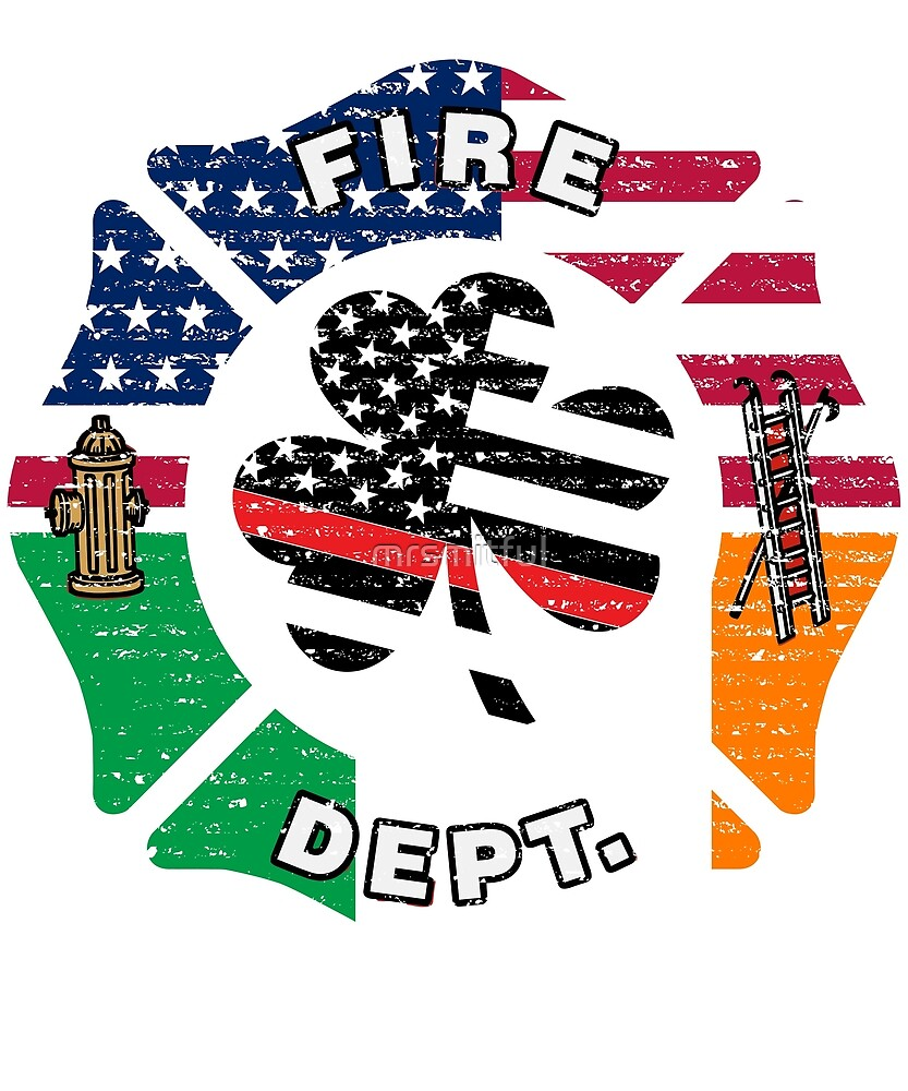 658f2eeb Thin Red Line Irish American Shamrock Flag Firefighter St Patricks Day