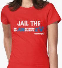 JAIL THE BANKERZ pig white Fitted T-Shirt