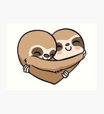 Sloth  Heart Art Print