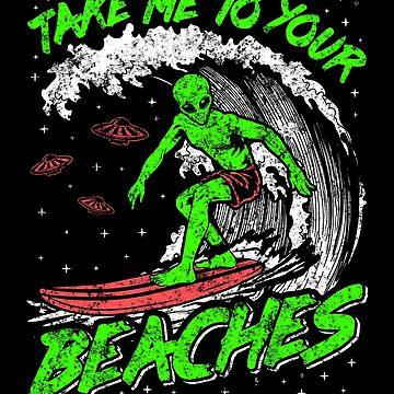 Camisa extraterrestre Camisa de surf Hombres Camisa OVNI Tablas de surf Longboard Llévame a tus playas Arte OVNI Arte extranjero Camisas divertidas del vintage de InsaneBrainProd