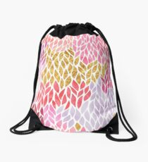 Pink Rose Gold Teardrop Leaf Trendy Pattern Drawstring Bag
