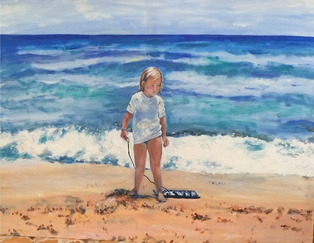 Beach Girl with Her Boggy Board by Marlene  Kurland