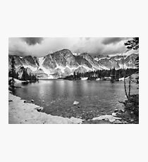 Medicine Bow Lake View in Black and White Photographic Print