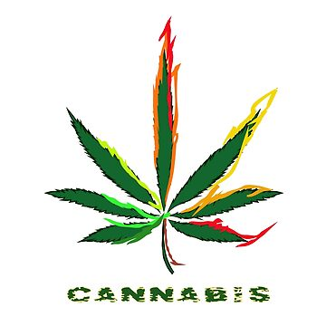 Crazy Marijuana Leaf and word Cannabis by NataliSven