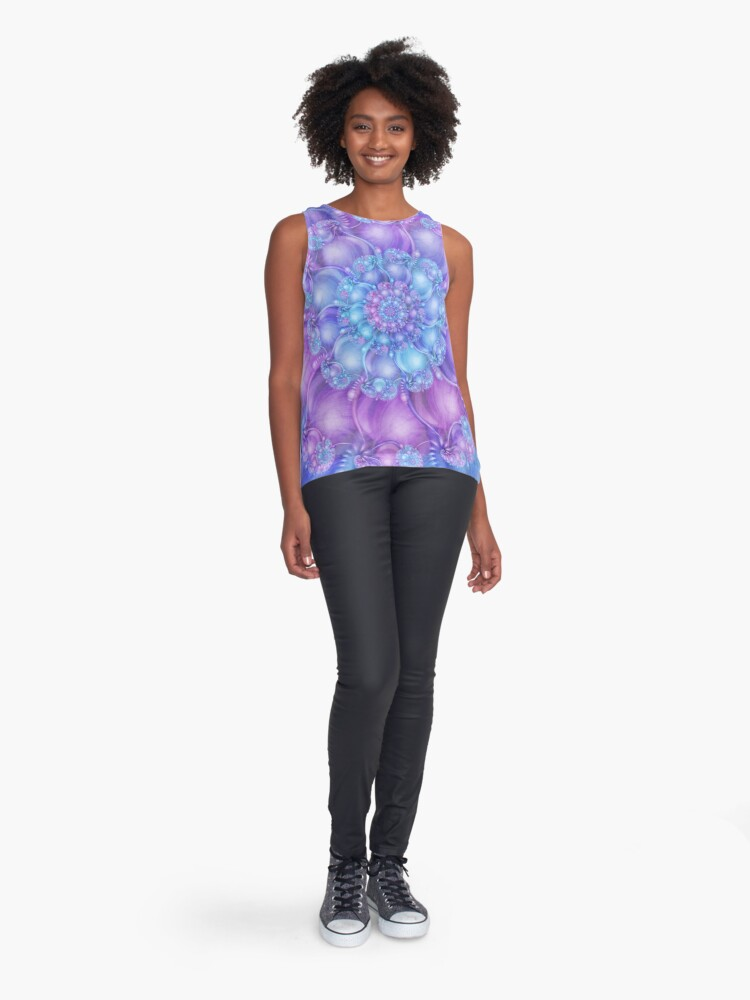 Alternate view of Cerulean Blue and Violet Purple Spiral Sleeveless Top