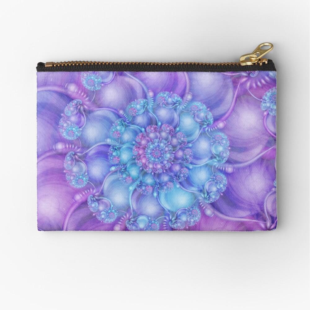Cerulean Blue and Violet Purple Spiral Zipper Pouch