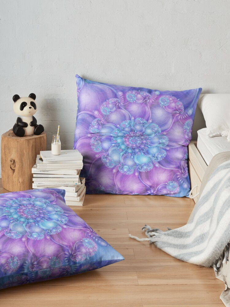 Alternate view of Cerulean Blue and Violet Purple Spiral Floor Pillow