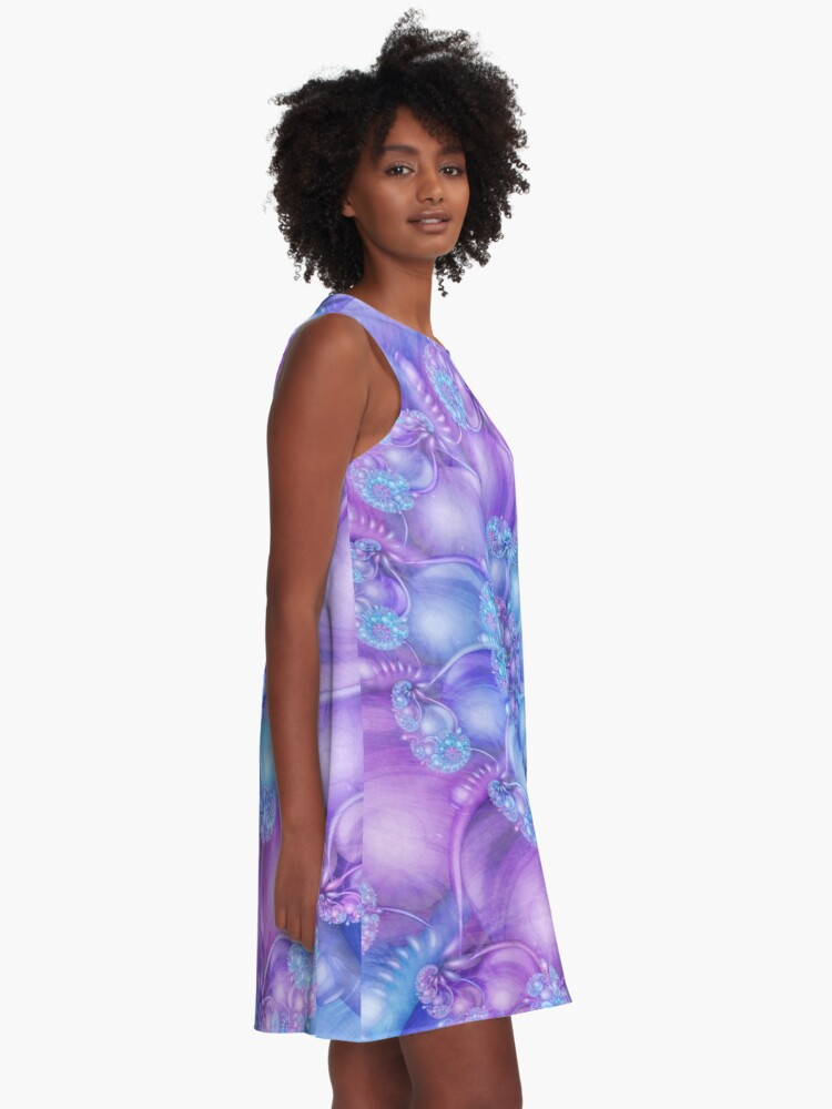 Alternate view of Cerulean Blue and Violet Purple Spiral A-Line Dress