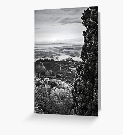 Hills wrapped in mist II Greeting Card