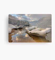 Snowy lake. Metal Print