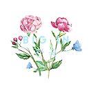 Big in Korea - Blumen und Hangul (blau) von ourtinyinfinite