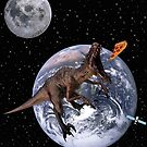Dinosaur T Rex Eating Pizza In The Space by RollingStore .