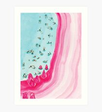 Lámina artística Playa rosa