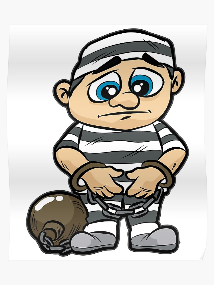 Prisoner Jail Prison Detainee Cuffs Chained Comic Poster