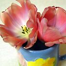 Two Tulips in Colorful Cup by debbiedoda