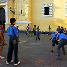 Playing in Front of Church by Elena Vazquez