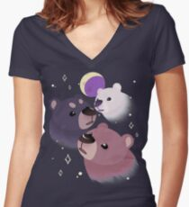 Three Bear Moon Fitted V-Neck T-Shirt