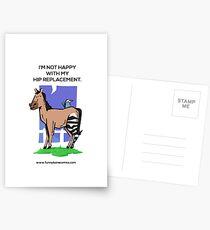 Postales No contento con mi diseño de caballo de cebra de reemplazo de cadera