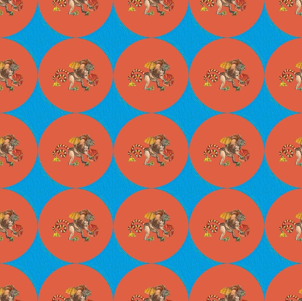 Monster Pattern (Red Orange Background) by ProjectMayhem