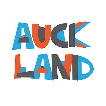 Auckland Hand Drawn Text T-Shirt by designkitsch